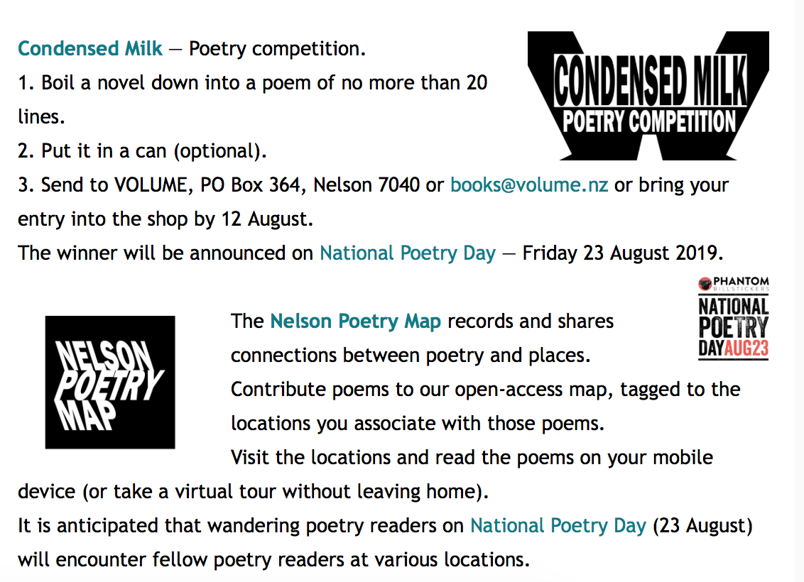 Poetry Shelf noticeboard: Nelson's Volume Bookshop on
